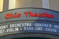 Tecken för teater för Ohio teaterstort festtält som annonserar Columbus Symphony Orchestra i i stadens centrum Columbus, OH Fotografering för Bildbyråer