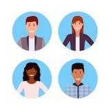 Tecken för tecknad film för arbetare för kontor för man för kvinna för lopp för blandning för fastställd för affärsfolk för frams royaltyfri illustrationer