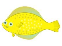 Tecken för tecknad film för fisk för lycklig guling för havsflundrafisk stort prickigt på vitt G för tema för liv för hav för bak Royaltyfria Bilder