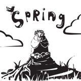 Tecken för tecknad film för Groundhog dag av murmeldjuret efter en vinterdvala stock illustrationer
