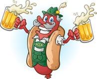 Tecken för tecknad film för Oktoberfest BratwurstHotdog som dricker öl Royaltyfria Bilder