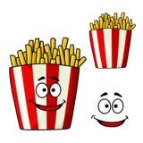 Tecken för tecknad film för pommes fritesmellanmålask Royaltyfri Bild