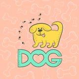 Tecken för tecknad film för gullig karikatyr för hund för vektor rolig djurt Husdjuret för det plana kortet för konturen isolerad stock illustrationer