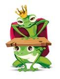 Tecken för tecknad film för konunggrodavektor Metaphoric kritiska anmärkningar för domderande makt royaltyfri illustrationer
