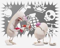 tecken för tecknad film som 3d förolämpar ett annat stock illustrationer