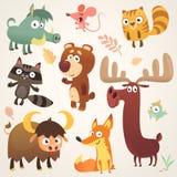 Tecken för tecknad filmskogdjur också vektor för coreldrawillustration Stor uppsättning av illustrationen för tecknad filmskogdju stock illustrationer