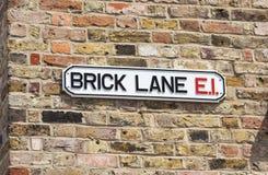 Tecken för tegelstengrändgata, London, England Arkivbilder