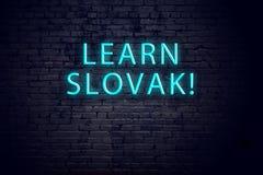 Tecken för tegelstenvägg och neonmed inskriften Begrepp av att lära slovak royaltyfri fotografi