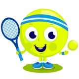 Tecken för tennisboll som spelar tennis vektor illustrationer