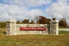 Tecken för tillverkare` s Mark Distillery Arkivfoto