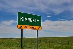 Tecken för USA-huvudvägutgång för Kimberly arkivbild