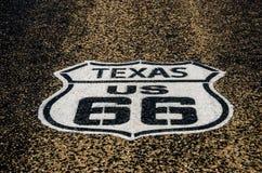 Tecken för USA 66 i Texas Arkivfoton