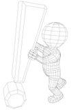 Tecken för utrop för man för docka 3d hållande stock illustrationer