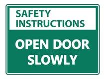 tecken för vägg för öppen dörr för symbolsäkerhetsanvisningar långsamt på vit bakgrund vektor illustrationer