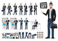 Tecken för vektor för affärsman - uppsättning Manlig idérik formgivare- eller konstnärinnehavportfölj royaltyfri illustrationer