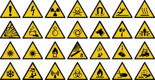 Tecken för vektor för varningstecken - uppsättning av tecknet för triangelgulingvarning stock illustrationer