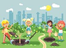 Tecken för vektorillustrationtecknad film av barn pojke och flickan som planterar i trädgårds- plantor av trädet, litet barn med royaltyfri illustrationer