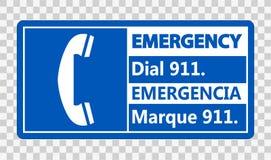 tecken för visartavla 911 för symbol tvåspråkigt nöd- på genomskinlig bakgrund royaltyfri illustrationer