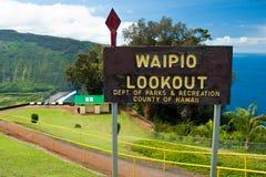 Tecken för Waipio dalutkik på Hawaii den stora ön Arkivbilder