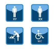 Tecken för Wc-toalettköpcentrum vektor illustrationer