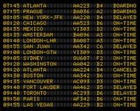 tecken för flygplatsflygschema Arkivfoto