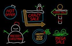 Tecken för glad jul och för lyckligt nytt år neon Royaltyfria Bilder