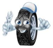 Tecken för gummihjulmekanikertecknad film Arkivbild