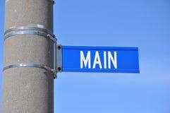 Tecken för huvudsaklig gata Fotografering för Bildbyråer