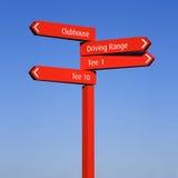 tecken för information om kursriktningsgolf Fotografering för Bildbyråer