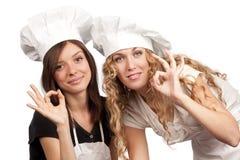 tecken för kockkvinnligok Royaltyfri Foto