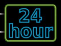 tecken för neon 24hr Arkivfoton