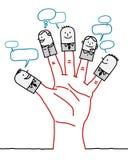 Tecken för stor hand och tecknad film- socialt affärsnätverk Royaltyfri Fotografi