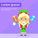 Tecken för tecknad film för julälva kvinnligt lilla Gril Arkivfoto