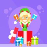 Tecken för tecknad film för julälva kvinnligt lilla Gril Royaltyfria Bilder