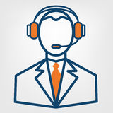 Tecken för vektor för service för appellmitt, man i handsfree hörlurarsymbol Royaltyfri Bild