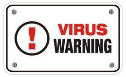 Tecken för virusvarningsrektangel Arkivfoto