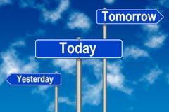 tecken i dag i morgon igår Royaltyfri Fotografi