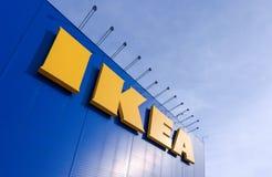 Tecken IKEA på IKEA Samara Store Royaltyfri Fotografi