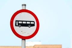 Tecken: Ingen buss Fotografering för Bildbyråer