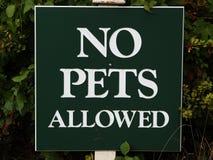 Tecken` ingen tillåten ` för husdjur, Arkivfoto