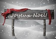 Tecken Joyeux Noel Means Merry Christmas, snö, Snowfalkes royaltyfri bild