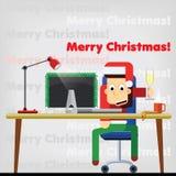 tecken Kontorsarbetaren firar nytt år och Christm stock illustrationer