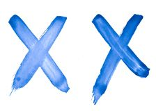 2 tecken - kors, X - vattenfärg som målas av handen med en grov borste Tappningmodell för design och garnering vektor illustrationer