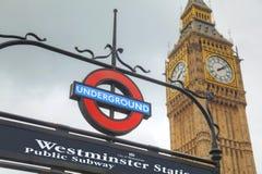 Tecken London för underjordisk station Arkivbild