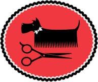 Tecken med att ansa hunden och sax stock illustrationer