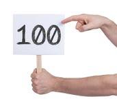 Tecken med ett nummer, 100 Arkivbild