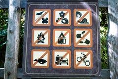 Tecken med många förbud Arkivbild