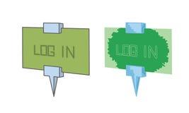 Tecken med textinloggning Fotografering för Bildbyråer