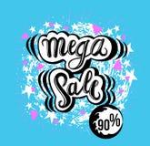 Tecken mega Sale, symbol för din rengöringsduk, etikett, symbol, minsta dynamisk design Mega Sale för inskränkt erbjudande baner  vektor illustrationer