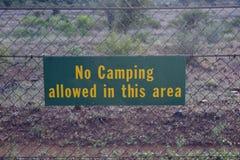 Tecken mot staketet med ord inget campa som låts i detta område arkivfoto